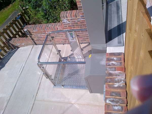 Terry Lifts Melody 2 Wheelchair lift installation oblique view looking down from the upper level to the ground level