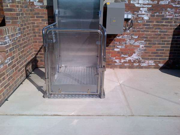 Terry Lifts Melody 2 Wheelchair lift installation view from the ground level with direct front view of the lift