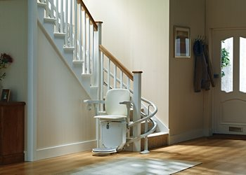 Stannah Siena stair lift for curved stairs, inside bend.