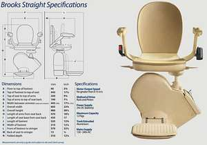 Brooks Straight Stairlift specifications and dimensions.