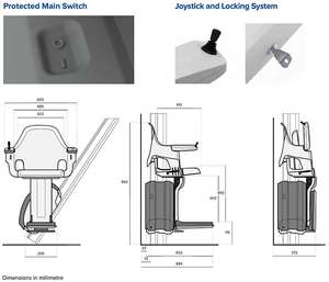 Access BDD HomeGlide Outdoor Stairlift security and safety features and stair lift dimensions