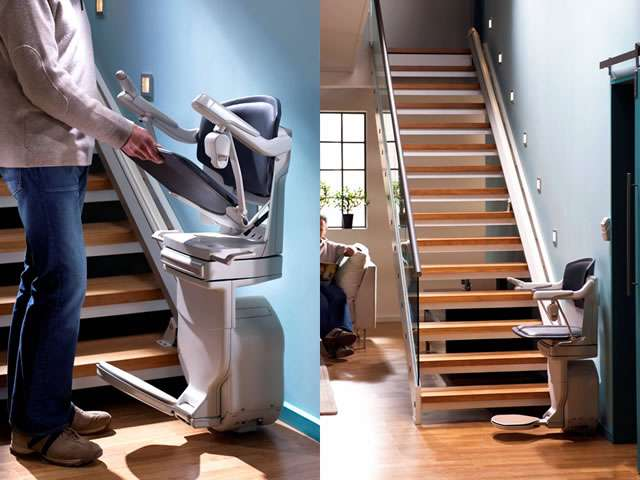 A 2-part composite photo focusing on a dark blue Stannah Solus 420 stairlift for straight stairs. The left side photo shows a male user lifting up or lowering down the seat of the stair lift. As the seat is raised or lowered, the arm rests and foot rest also move to match the direction the seat is moved. The right side photo shows a side view of the Stannah Solust 420 stair lift parked at the bottom of the straight stairs. The armrests, seat, and footrest are all in the down position, so the stair lift is ready for use.