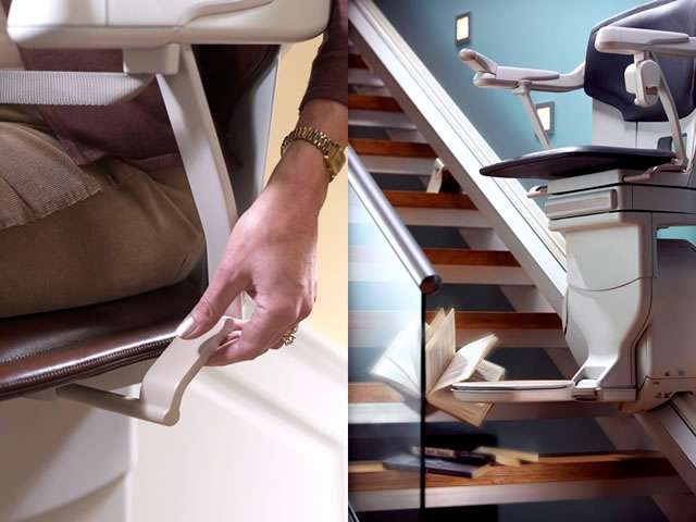 A two-part composite close-up image of the Stannah Solus 420 stairlift. The left side image shows the hand of a female user operating the toggle lever situated underneath the stair lift chair set. The right side image show how when the stairlift is going up or down the stairs, if the stair lift meets an obstacle, such as a book left on the stairs, the stairlift stops, giving time for someone to remove the obstacle from the stairlift path.