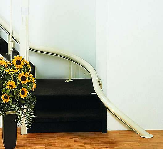 Showing two curves / bends in a Handicare Van Gogh stair lift rail.